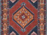 Burnt orange 5×7 area Rug Robbins Dark Blue Burnt orange area Rug