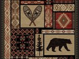 "Cabin area Rugs for Sale Rustic Lodge Bear Moose Deer Panel 5×8 Red area Rug 5 3""x7 7"" 6913"