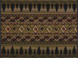 Cabin Lodge Style area Rugs Fish Pine Trees Bear Paw Prints Rustic Cabin Lodge area Rug