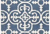 Caffey Navy Blue area Rug byron Geometric Handmade Tufted Navy Blue Ivory Wool area Rug