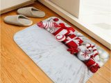 Candy Cane Bath Rug Christmas Gift Candy Cane Print Decorative Flannel Bath Mat