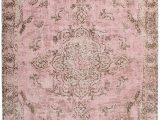 Carina Synthetic Rug Porcelain Blue Sahara Turkish Style Pink Distressed Medallion Rug Miss