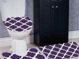 Cheap 3 Piece Bathroom Rug Sets Wpm 3 Piece Bath Rug Set Diamond Pattern Bathroom Rug 50cmx80cm Contour Mat 50cmx50cm with Lid Cover Purple