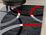 Cheap Red and Grey area Rugs Modern Abstract Circles Red Gray soft area Rug