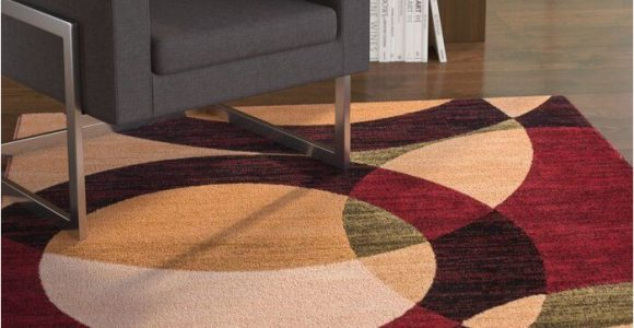 Chelsi Rings Circles area Rug Chelsi Power Loom Red Beige Rug In 2020 Beige Rug