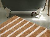 "Chenille Lines Bath Rug Collection Warisi Bold Stripes Collection Designer Plush Microfiber Bath Rug 34"" L X 21"" W Brown Ivory"