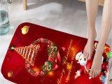 Christmas Bath Rugs for Sale Christmas Wreath Santa Claus Print Flannel Bath Rug