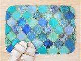 Cobalt Blue Bath Rugs Cobalt Blue Aqua & Gold Decorative Moroccan Tile Pattern