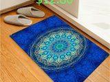 Cobalt Blue Bath Rugs Geometric Print Pattern Flannel Floor Mat