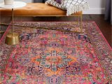 Colorful area Rugs for Sale Bright Boho Persian Rug Hot Pink orange Navy Blue