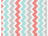 Coral and Grey area Rug Cafepress Coral Aqua Grey Chevron Pattern 3 X5 Decorative area Rug Fabric Throw Rug