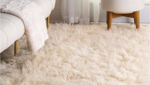 Cream Color Shag area Rug Nuloom Hand Made Greek Flokati Wool Plush Shag area Rug In