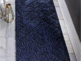 Dark Blue Fluffy Rug Navy Blue 2 7 X 10 Lattice Shag Runner Rug Rugs Com