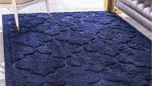 Dark Blue Fluffy Rug Unique Loom Trellis Shag Collection Plush Geometric Modern Moroccan Lattice Navy Blue area Rug 8 0 X 10 0