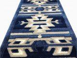 Dark Blue Rug Runner southwest Native American Long Runner area Rug Dark Blue Americana Design 113 32 Inch X 10 Feet