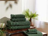 Dark Green Bath Rug Set 6 Piece Bath towel Set Plus Bath Mat Cotton Dark Green