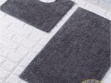 Dark Grey Bathroom Rug Set Shiny Sparkling 2pcs Bath Mat Sets Non Slip Water Absorbent Bathroom Rugs Dark Grey by fort Collections