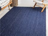 Dark Navy Blue area Rug Unique Loom Braided Jute Collection Hand Woven Natural Fibers Navy Blue Dark Blue area Rug 9 0 X 12 0