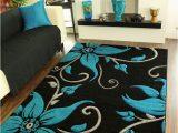 Dark Teal area Rug 5×7 Black Teal Grey Floral Print Thick High Quality Modern