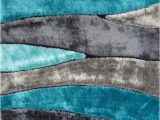 Dark Teal area Rug 5×7 Gray and Blue Abstract 8×11 Rug