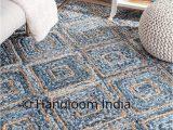Denim and Jute area Rug Braided Denim Jute Mix solid area Carpet for Living Room