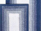 "Denim Blue Bath Rug Chesapeake Merchandising Whitney Reversible 2 Piece Bath Rug Set 21"" X 34"" & 17"" X 24"" Deep Denim"