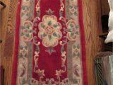 "Detroit Red Wings area Rug Vintage Chinese Wool Rug Red Floral 54"" X 24"""