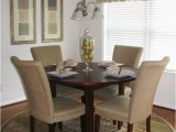 Dining Room Table with area Rug Neutral Transitional Dining Room with Round Table and area