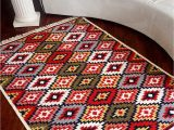 Double Sided Bath Rugs Boho Rugs for Living Room Machine Washable Double Sided Handwoven Cotton 4×6 Ft