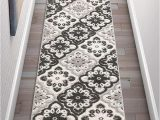 Durable High Traffic area Rugs Floral Panel Gray White High Traffic Stain Resistant Indoor