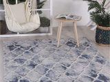Durable High Traffic area Rugs Home Culture Courtyard Trellis Indoor Outdoor Blue Rug