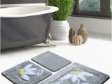 Eco Friendly Bath Rugs High Pile soft Bathroom Rug Hand Thufted Daisy Antibacterial Bath Rug Eco Friendly Gift for Her 2 Diff Pcs Of Set and 4 Diff Colors