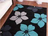 Extra Large Grey area Rug Modern Black Grey Teal Blue Flower Extra Large area Floor
