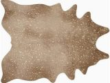 Gold Printed Faux Cowhide area Rug Williston forge Terrazas Tan Gold area Rug Faux Cowhide