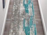 """Gray and Blue Runner Rug Well Woven Carlo Blue Abstract Geometric Runner Rug 2×7 2 X 7 3"""""""