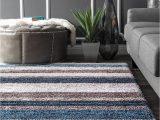 Gray Living Room area Rug Premium Handmade Striped Blue Gray Plush Shag area Rugs