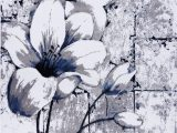 Gray White Blue area Rug Grey Blue Tulips Floral area Rug
