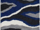 Gray White Blue area Rug Shed Free Shaggy area Rugs Contemporary Abstract Wave