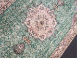 Green and Pink area Rugs 9 X 5 1 Green Pink Large area Rug Pastel Colors Vintage Rug