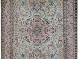 Green and Pink area Rugs Pista Salmon Silk Cotton area Rug