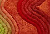 Green and Red area Rugs Crown Shag 3d Green orange Red area Rug