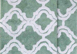 "Green Bath Rug Sets Chesapeake Double Quatrefoil 2pc Subtle Green Bath Rug Set 21""x34"" & 24""x40"""
