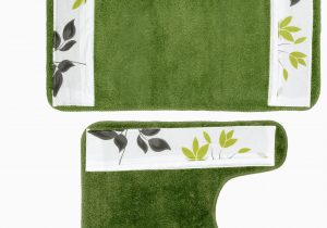 Green Bath Rug Sets Mayan Leaf Banded 2 Piece Bath Rug Set