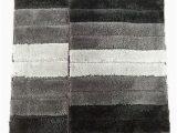 Grey and Black Bathroom Rugs 2 Piece High top Striped Ombree Ultra soft Microfiber Bath