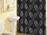 Grey and Black Bathroom Rugs Black Gray Scrolls Shower Curtain 15 Pcs Bath Rug Mat