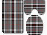 Grey and Black Bathroom Rugs Eczjnt Scottish Tartan tompson Black Gray White 3 Piece