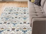 """Grey and White area Rug 5×7 Ogee Waves Lattice Grey Gold Blue Ivory Floral area Rug 5×7 5 3"""" X 7 3"""" Modern oriental Geometric soft Pile Contemporary Carpet Thick Plush Stain"""