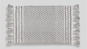 Grey and White Bath Rug Geometric Tassel Bath Mat 80cm X 50cm – Grey
