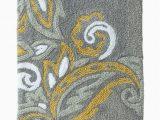 Grey and Yellow Bath Rug Threshold Plush Gray & Yellow Paisley Bath Rug Skid Resist Throw Mat 20×34 Walmart