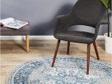 Grey Blue Round Rug Babylon 207 Bohemian Blue Round Rug